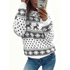 Print Round Neck Ugly Christmas Sweater