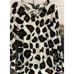 леопард V-λαιμός Μακρυμάνικο Καθημερινό Блузи