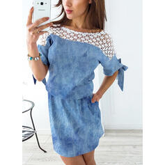 Lace/Print 1/2 Sleeves Sheath Above Knee Casual Dresses