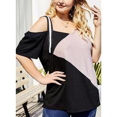 Color Block One-Shoulder Short Sleeves Plus Size T-shirts