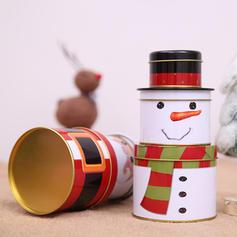 Merry Christmas Snowman Santa Metal Candy Jars