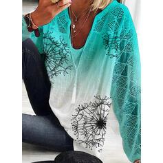 Impresión Tie Dye Cuello en V Mangas 3/4 Casual Blusas