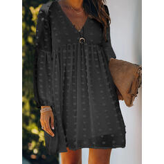 Solid Mâneci Lungi De schimb Deasupra Genunchiului Negre/Elegant Tunică Elbiseler