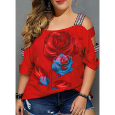 Floral Print Cold Shoulder 3/4 Sleeves Casual Plus Size Blouses