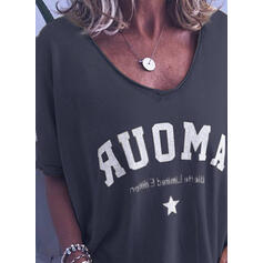 Print Round Neck Short Sleeves Casual Knit T-shirt