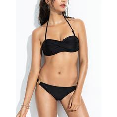Ensfarget Halterneck Sexy Bikinier Badedrakter