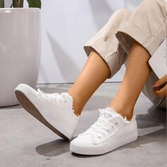 Mulheres Lona Casual Atlético com Aplicação de renda sapatos