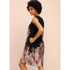 Print Sleeveless Shift Knee Length Casual/Vacation Tank Dresses