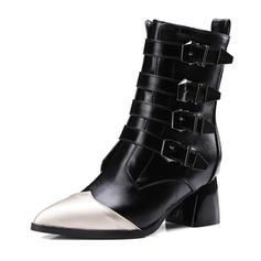 Femmes Similicuir Talon bottier Bottes Bottes mi-mollets avec Boucle Semelle chaussures