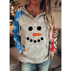 Print Color Block Pockets Long Sleeves Christmas Sweatshirt