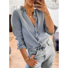Nop V-hals Lange Mouwen Casual Overhemd
