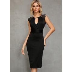 Lace/Solid Bodycon Asymmetrical Little Black/Elegant Dresses