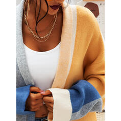 Color Block Chunky knit Casual Sweaters