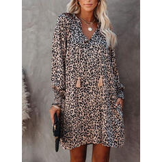 Leopard Long Sleeves/Lantern Sleeve Shift Above Knee Casual/Vacation Tunic Dresses