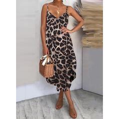 Leopard Sleeveless Shift Casual Midi Dresses