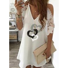 Lace/Print/Heart 1/2 Sleeves Shift Above Knee Elegant Dresses
