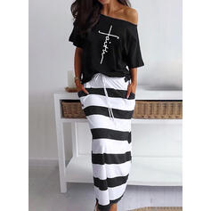 Print/Striped Short Sleeves Sheath Casual Midi Dresses
