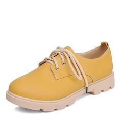 Dla kobiet Skóra ekologiczna Płaski Obcas Plaskie Zakryte Palce Z Sznurowanie obuwie