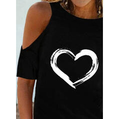 Nadruk Serce Zimne ramię Krótkie rękawy Nieformalny Bluzki