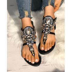 Femmes PU Talon plat Sandales À bout ouvert avec Strass chaussures