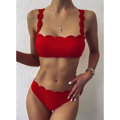 Jednolity kolor push up Cięcie falowe W prążki Seksowny Wintage Bikini Stroje kąpielowe