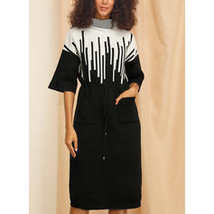 Print 1/2 Sleeves Bodycon Knee Length Casual/Elegant Dresses