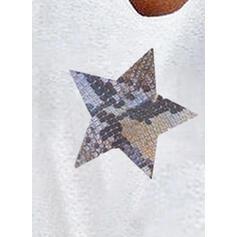 Estampado Decote em V 1/2 Manga Casual Camisetas