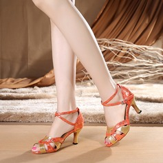 Women's Latin Heels Sandals Fabric With Ankle Strap Latin