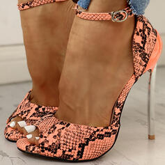 Women's PU Stiletto Heel Pumps With Buckle Animal Print shoes
