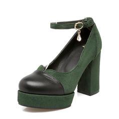 Femmes Suède Talon bottier Escarpins Plateforme avec Strass chaussures