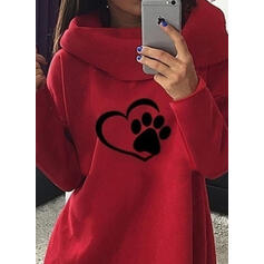 Animal Print High Neck Long Sleeves Sweatshirt