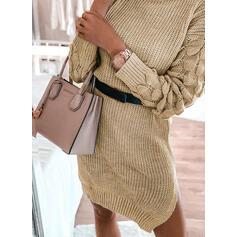 固体 長袖 シースドレス 膝上 カジュアル セーター ドレス