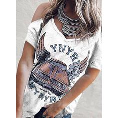 Imprimée Épaule Froide Manches Courtes Décontractée T-shirts