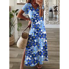 Print/Floral Short Sleeves Shift T-shirt Casual/Vacation Maxi Dresses