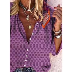 Nadruk Dekolt w kształcie litery V Rękaw 3/4 Zapięcie na guzik Casual Bluski koszulowe