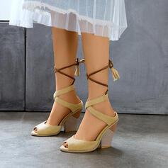 Femmes PU Talon bottier Sandales avec La copie Animale chaussures