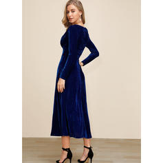 Solid Long Sleeves A-line Party/Elegant Midi Dresses