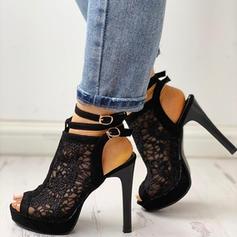 Женский PU Стилет каблук Peep Toe с пряжка обувь