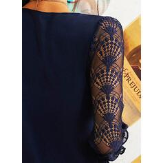 Koronka/Jednolita Długie rękawy Koktajlowa Długośc do kolan Casual Tunika Sukienki