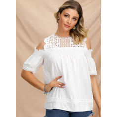 Lace Cold Shoulder 1/2 Sleeves Casual Elegant Blouses