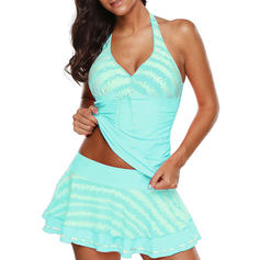 Stripe Splice color Halter Sexy Fresh Tankinis Swimsuits