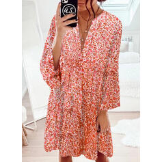 Print/Floral Long Sleeves/Flare Sleeves Shift Knee Length Casual Tunic Dresses