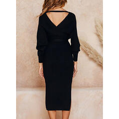Solid Long Sleeves Sheath Sweater Little Black/Elegant Midi Dresses