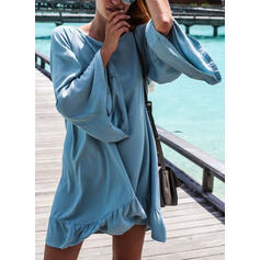 Solid Color Round Neck High Neck Sexy Fresh Boho Cover-ups Swimsuits