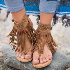 Frauen PU Flascher Absatz Sandalen Flache Schuhe Peep Toe mit Schnalle Schuhe