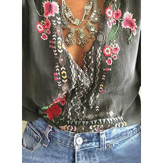 Embroidery V Neck Long Sleeves Casual Blouses