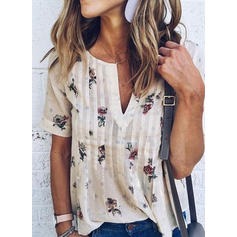 Cotton Polyester V Neck Print Short Sleeves Casual Blouses