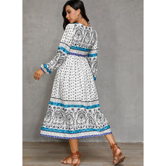 Print Long Sleeves A-line Casual/Boho/Vacation Midi Dresses