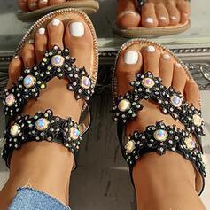 Dámské PU Placatý podpatek Pantofle S Imitace perly Květiny obuv