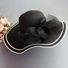 Ladies' Special/Elegant/Simple Raffia Straw With Tulle Straw Hats